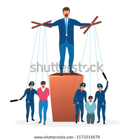 Totalitarian regime flat vector illustration. Political system metaphor. Form of government. Restriction of speech. Unlimited and centralized power. Leader, dictator cartoon characters