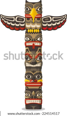 Totem being object symbol animal plant representation family clan tribe, vector illustration cartoon.