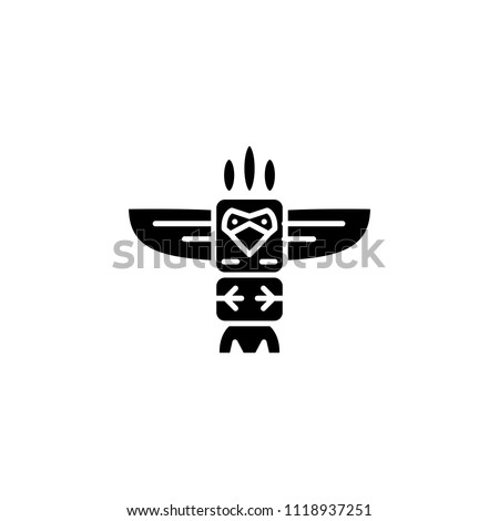 Totem black icon concept. Totem flat  vector symbol, sign, illustration.