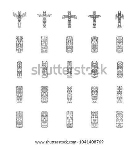 totem icons set. outline...