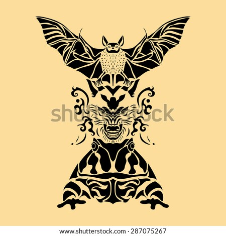 totem pole vector image in