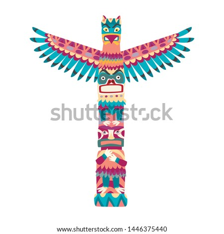 Totem poles vector illustration. Totem pole with tiki mask flat cartoon style icon isolated on white background
