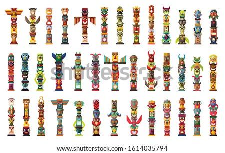 Totem vector cartoon set icon. Vector illustration set tribal mask. Isolated cartoon icon traditional totem on white background .