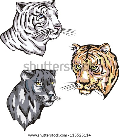 Totems - panther and tiger with solar signs. Set of vector illustrations. - stock vector