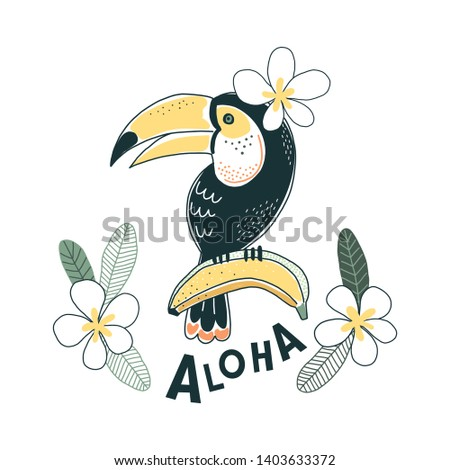 Toucan bird Banana fruits and flowers illustration Aloha lettering Exotic Tropical summer decorative print poster design isolated on white. Rainforest nature inspired drawing.