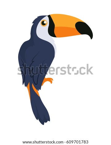 Shutterstock Toucan bird cartoon character. Cute toucan flat vector isolated on white. South America fauna. Guinea pig icon. Wild animal illustration for zoo ad, nature concept, children book illustrating