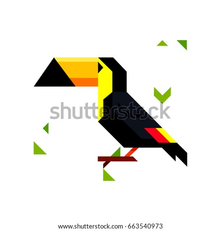 Toucan bird character. Cute toucan flat vector isolated on white. South America fauna. Wild animal illustration for nature concept, zoo ad or book illustrating.