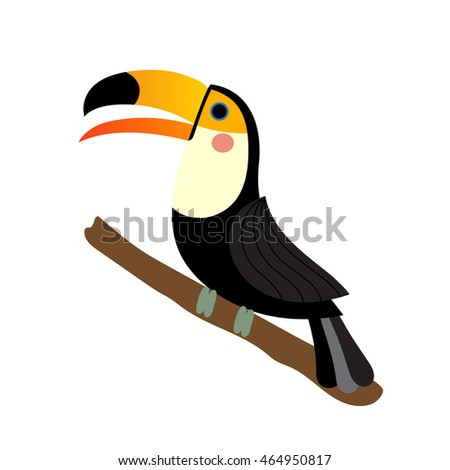 Toucan bird perching on the branch animal cartoon character isolated on white background.