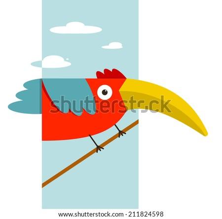 Toucan Bird with Big Beak Sitting. Colorful cartoon exotic red bird. Vector illustration EPS8