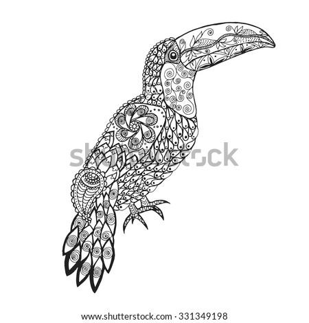 toucan birds black white hand