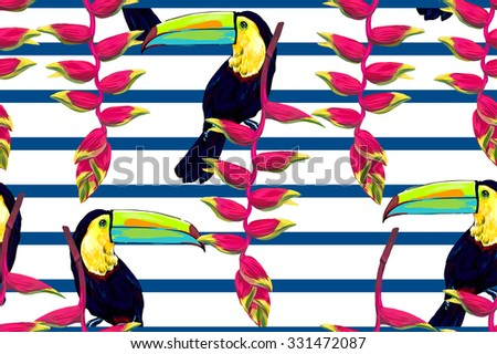 Toucan, exotic birds, tropical flowers, beautiful seamless vector fashionable floral tropical pattern background. Abstract geometric texture, stripes