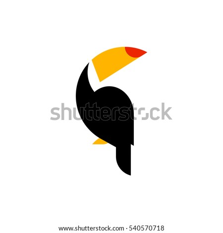Shutterstock Toucan flat style vector logo template isolated on white background. Tropical bird icon