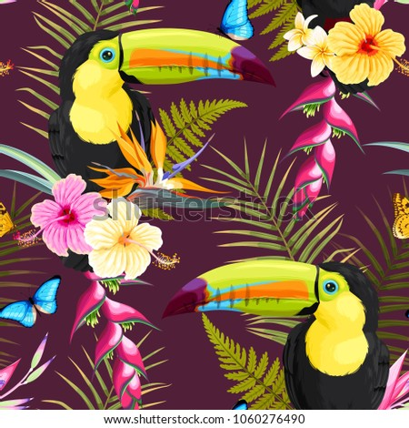Toucans and flowers