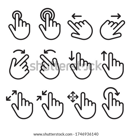 Touch gesture vector line icon set. Hand swipe and slide. Touchscreen technology, tap on screen, drag and drop. Smartphone mobile app or user interface design template.  Stockfoto ©