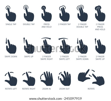 Touch gestures icons set with hands tap rotate press swipe isolated vector illustration