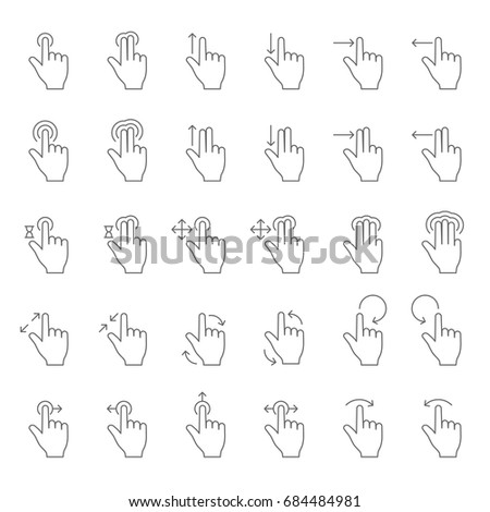 Touch hand gesture vector line icons. Touching finger gestures pictograms with swipe arrows. Finger slide and action, hold and touch on sensory screen illustration
