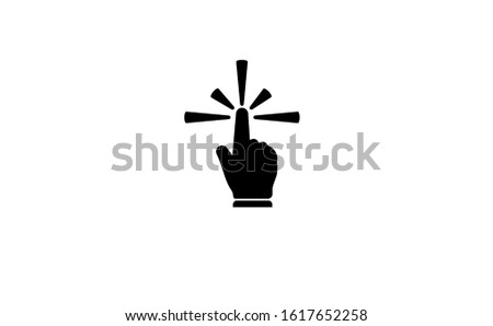 Touch icon in flat design vector illustration. Right hand image is used as a symbol of this touch icon. This touch icon symbol consists of two colours, black and white. Touch icon perfect line style.