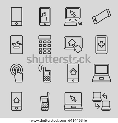 Touch icons set. set of 16 touch outline icons such as poker on phone, pointer on display, phone, touchscreen, laptop, old phone, home on tablet
