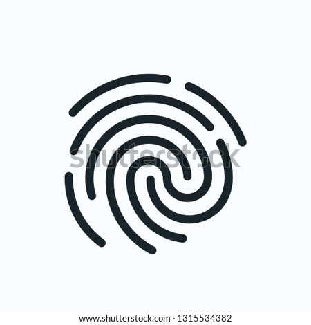 Touch id fingerprint icon. ID template. flat vector linear illustration isolated on white background