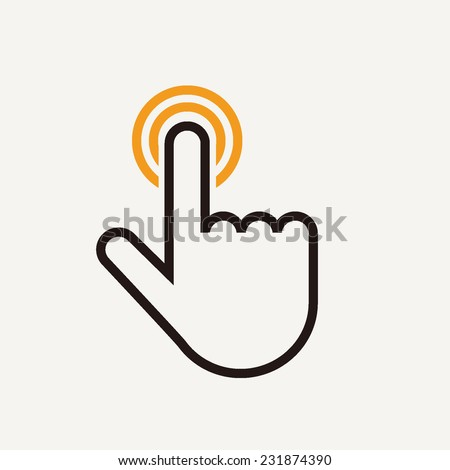 Touch outline vector illustration icon isolated on light background
