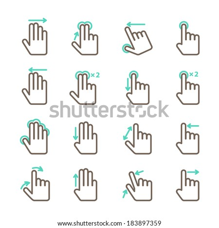 Touch screen hand gestures icons set for mobile application design isolated vector illustration