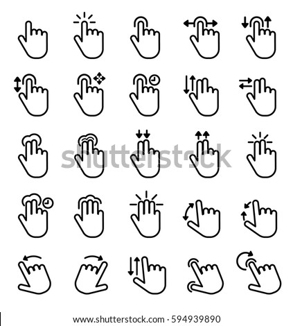 Touch screen hand gestures icons set for mobile application design isolated vector illustration.