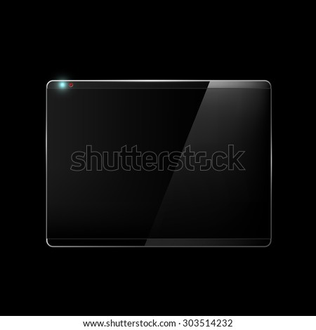 Touch screen. Monitor isolated on a black background. Stock Vector.