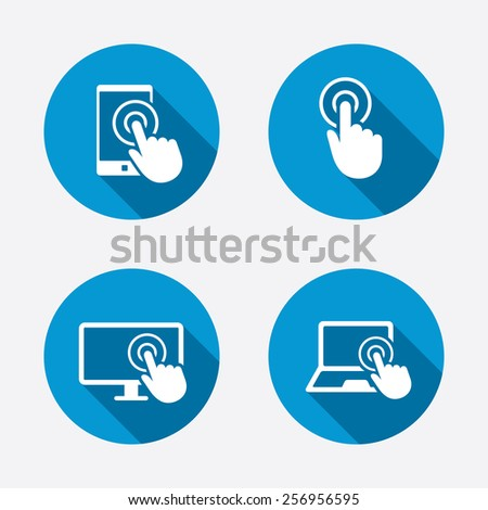 Touch screen smartphone icons Hand pointer symbols Notebook or Laptop pc sign Circle concept web buttons Vector