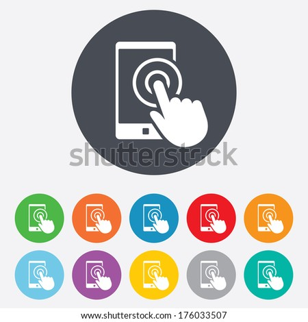 Touch screen smartphone sign icon. Hand pointer symbol. Round colourful 11 buttons. Vector