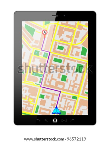 Touch screen tablet PC gps. Vector Illustration. EPS10.