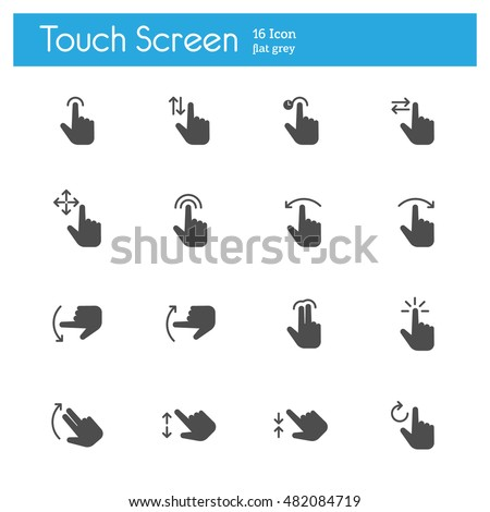 Touch Screen, Touch Gesture Icons flat icon
