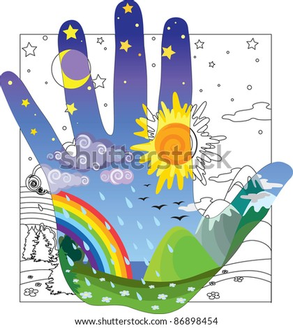 Touch the world - stock vector