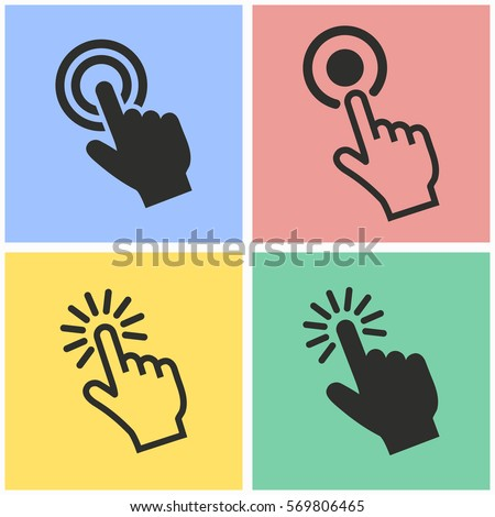 Touch vector icons set. Black illustration isolated for graphic and web design.