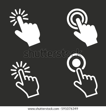 Touch vector icons set. White illustration isolated for graphic and web design.