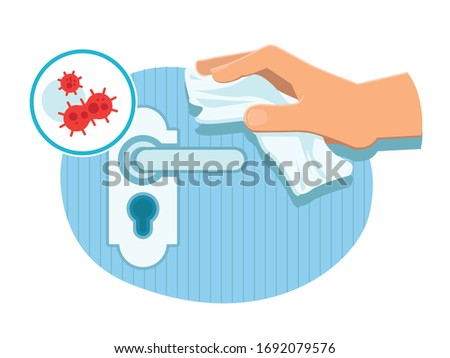 Touching a door handle in public place with paper napkin avoiding contact with surface. Extra precautions to prevent coronavirus infection. Safety during COVID-19 pandemic. Sanitary and hygiene.