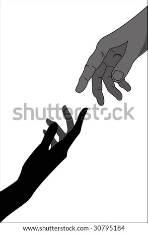 Touching hands - vector illustration