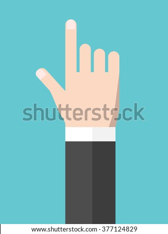 Touching or pointing hand. Touchscreen, user interface, attention, direction, manipulation, management concept. Flat style. EPS 8 vector illustration, no transparency