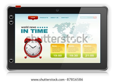Touchpad Computer or Tablet PC with news content, vector.