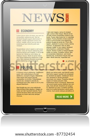Touchpad Computer or Tablet PC with newspaper content, vector.
