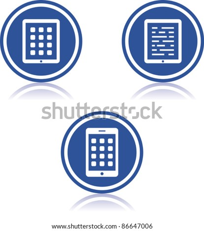 Touchscreen and tablet PC devices - Vector icons