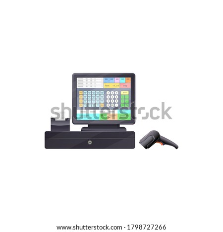 Touchscreen cash register with bar code reader, printing checks terminal isolated modern cash desk. Vector electronic till device, registering and calculating transactions at point of sale