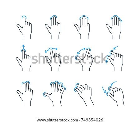 Touchscreen gesture icons for smartphones. Linear icon set for a mobile app or user interface. Vector illustration