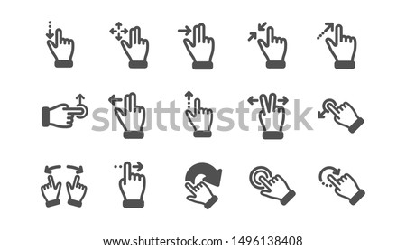 Touchscreen gesture icons. Hand swipe, Slide gesture, Multitasking icons. Touchscreen technology, tap on screen, drag and drop. Classic set. Quality set. Vector