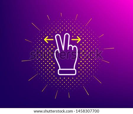 Touchscreen gesture line icon. Halftone pattern. Slide arrow sign. Swipe action symbol. Gradient background. Touchscreen gesture line icon. Yellow halftone pattern. Vector #1458307700
