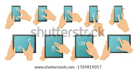Touchscreen gestures. Hands on smartphone and tablet multi touch screen. Pinch to zoom, swipe and click gesture vector illustration set. Screen touch drag, smartphone gesture move slide