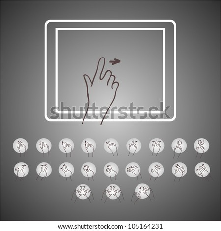 touchscreen hand  icon  tablet
