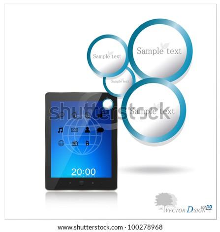 Touchscreen modern tablet pc. Vector illustration.
