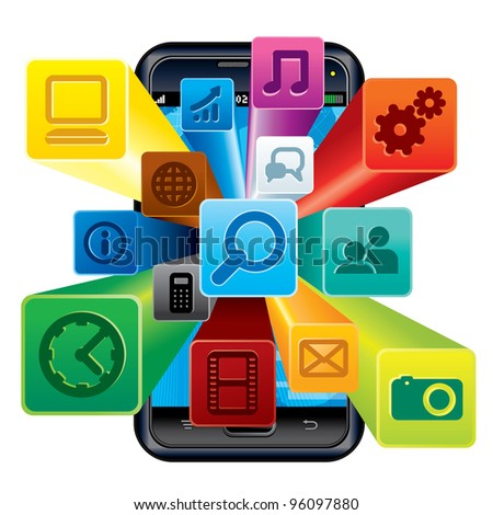 Touchscreen Phone with Cloud of Application icons. 3D Vector Illustration