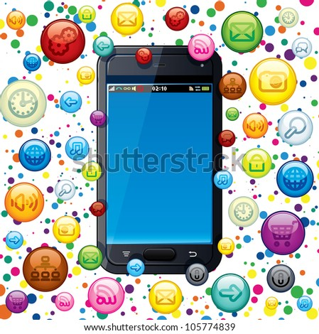 Touchscreen Smart Phone with Cloud of Application Icons