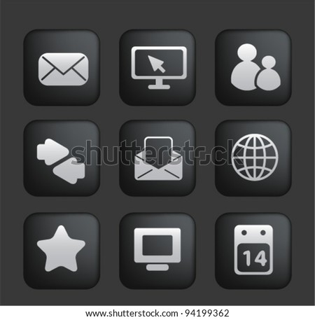 Touchscreen smartphone application black buttons icons, vector